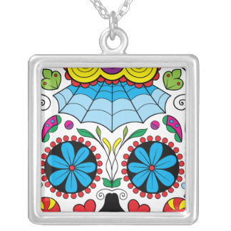 Colorful Dia Des Los Muertos Artwork Personalized Necklace
