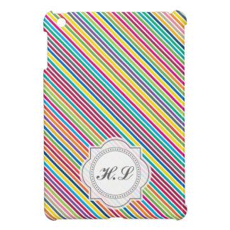 Colorful Diagonal Candy Stripe - Custom Text iPad Mini Covers