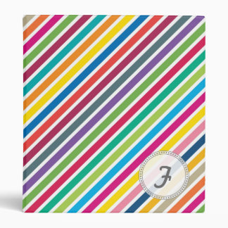 Colorful Diagonal Candy Stripes - Custom Text 3 Ring Binder