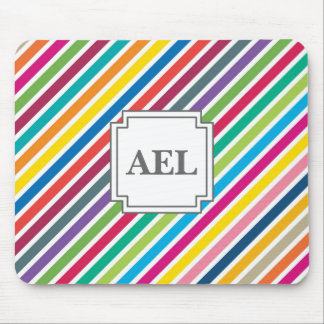 Colorful Diagonal Candy Stripes - Custom Text Mouse Pad