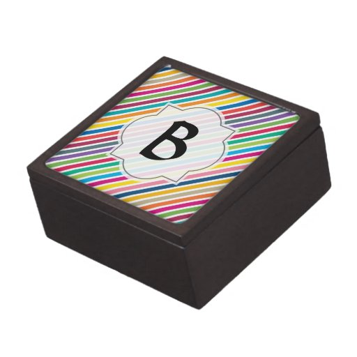 Colorful Diagonal Candy Stripes - Custom Text Premium Gift Boxes