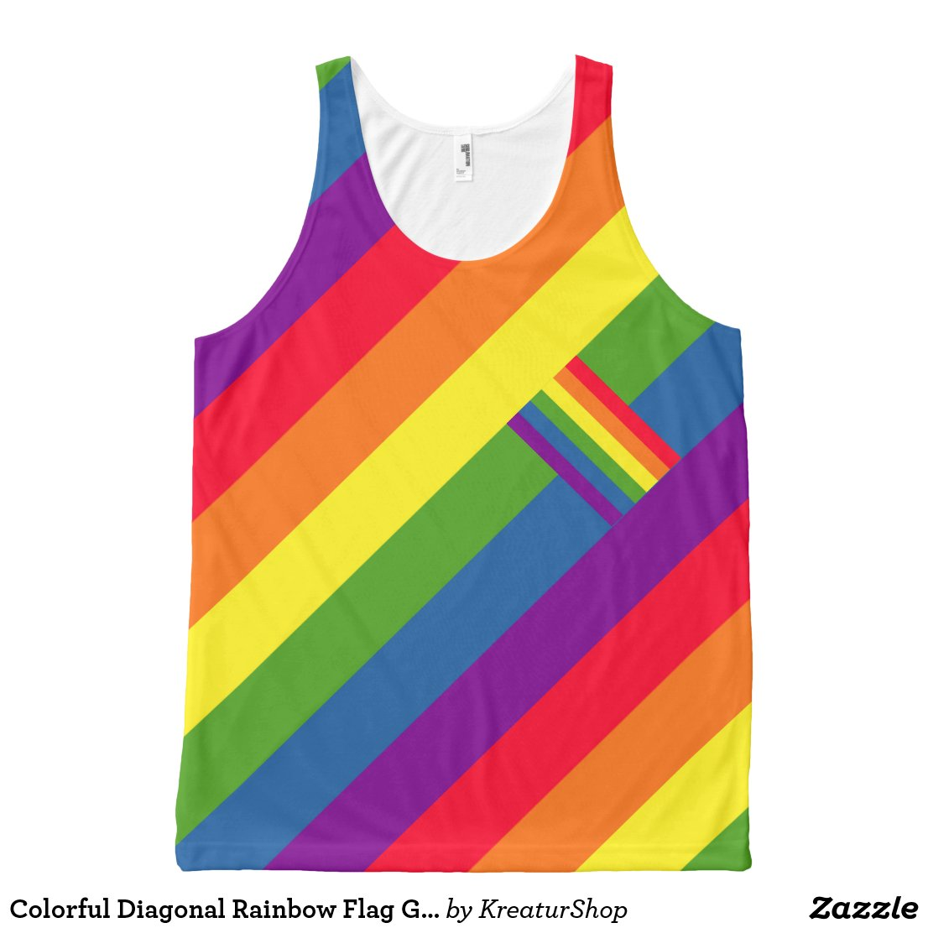 Colorful Diagonal Rainbow Flag Gay Pride