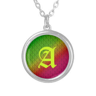 Colorful Diagonal Stripes and Flowers – 2 Silver Plated Necklace