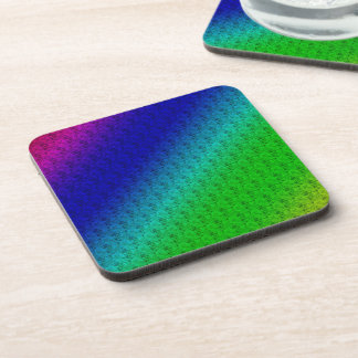 Colorful Diagonal Stripes and Flowers Cork Coaster