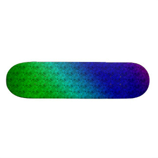 Colorful Diagonal Stripes and Flowers SKateboard