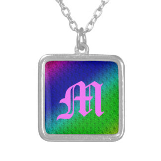 Colorful Diagonal Stripes and Flowers Sq. Necklace
