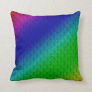 Colorful Diagonal Stripes and Flowers Sq. Pillow