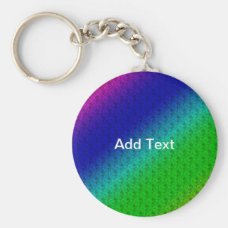 Colorful Diagonal Stripes Flowers Button Keychain