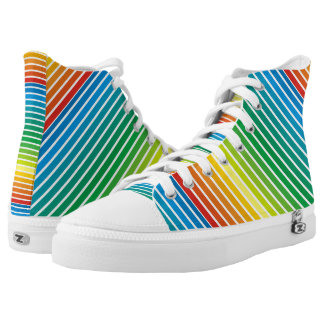 Colorful diagonal stripes modern printed shoes