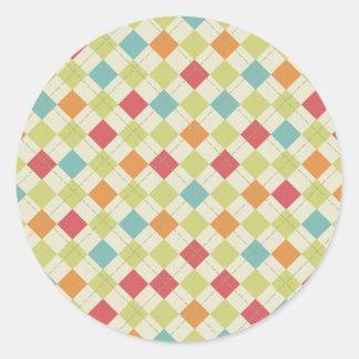 Colorful Diamond Argyle Pattern Gifts Classic Round Sticker