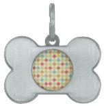 Colorful Diamond Argyle Pattern Gifts Pet Name Tag