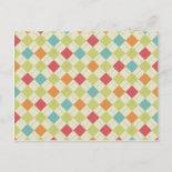 Colorful Diamond Argyle Pattern Gifts Postcard