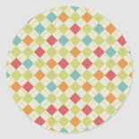 Colorful Diamond Argyle Pattern Gifts Round Stickers