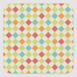 Colorful Diamond Argyle Pattern Gifts Square Sticker
