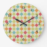 Colorful Diamond Argyle Pattern Gifts Wall Clocks