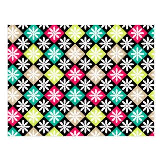 Colorful Diamond Argyle Pattern Postcard