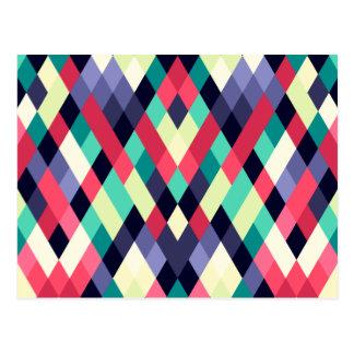 Colorful Diamond Geometrical Pattern Postcard