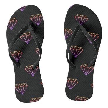 Beach Themed Colorful Diamond Pattern Flip Flops