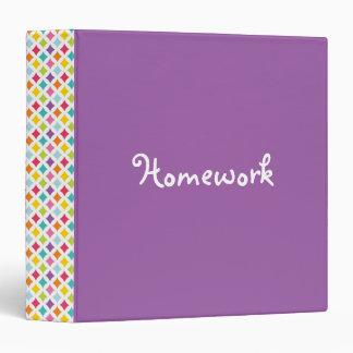 Colorful Diamond Spine Purple Homework Binders