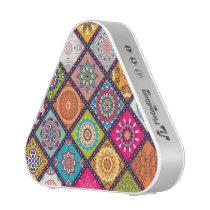 Colorful diamond tiled mandalas floral pattern bluetooth speaker