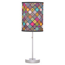 Colorful diamond tiled mandalas floral pattern desk lamp