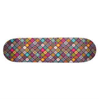 Colorful diamond tiled mandalas floral pattern skateboard