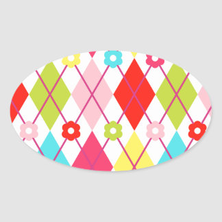Colorful Diamonds and Plaid Oval Sticker