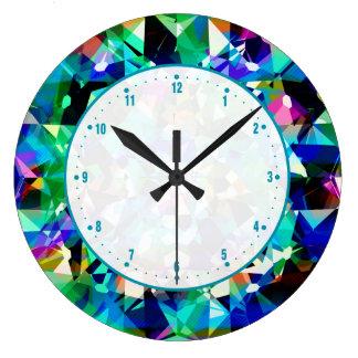 Colorful Diamonds Glitter And Sparkles Clock