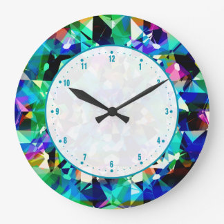 Colorful Diamonds Glitter And Sparkles Large Clock