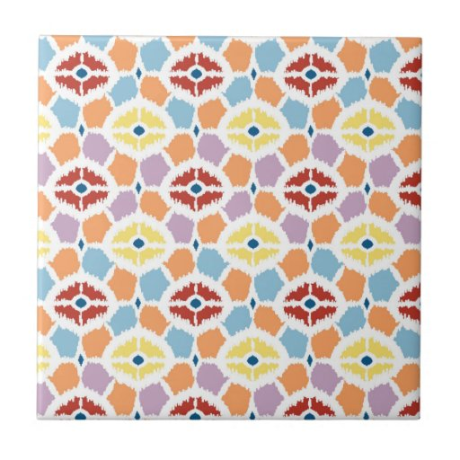 Colorful diamonds ikat geometric ceramic tiles