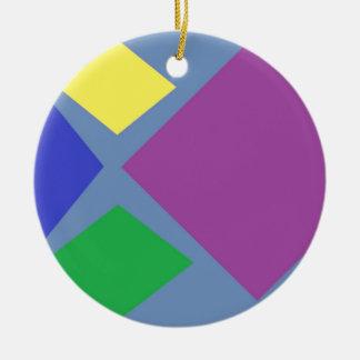 Colorful Diamonds On Blue Ceramic Ornament