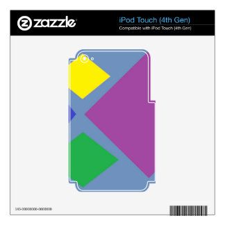 Colorful Diamonds On Blue iPod Touch 4G Decals