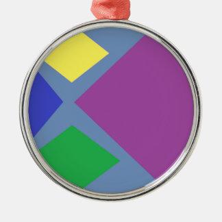 Colorful Diamonds On Blue Metal Ornament