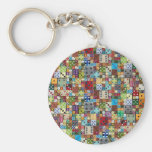 Colorful Dice Basic Round Button Keychain