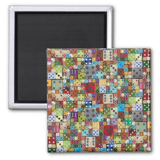 Colorful Dice 2 Inch Square Magnet