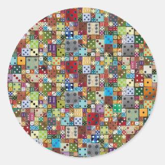 Colorful Dice Classic Round Sticker