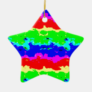 Colorful Digital Abstract Collage Ceramic Ornament
