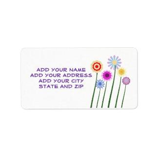 Colorful, digital art flowers address label