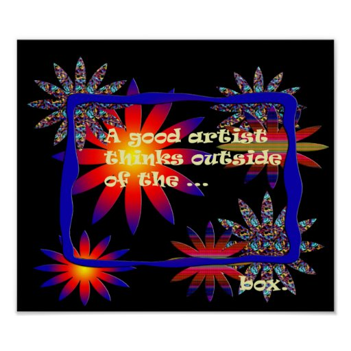 Colorful Digital Flowers and Frame Poster