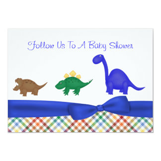 Colorful Dinosaur Baby Shower Invitation