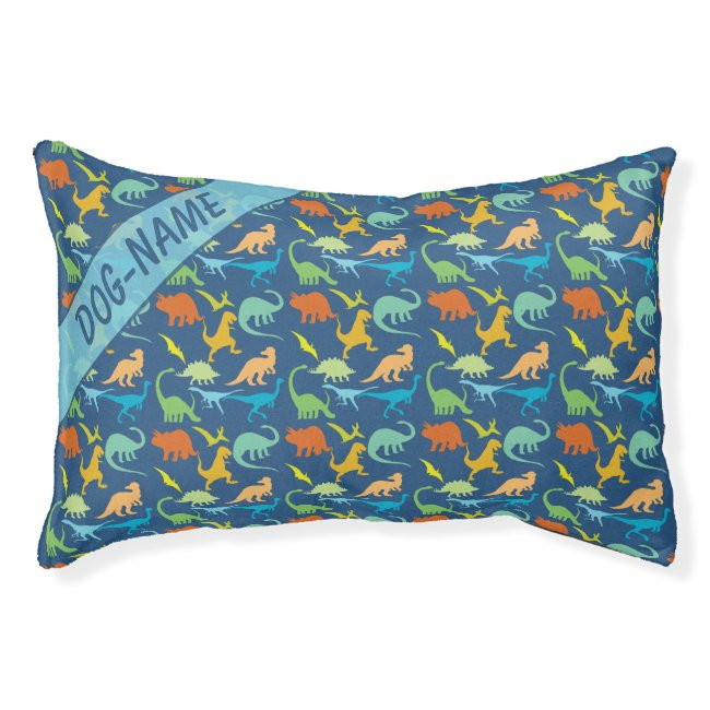 Colorful Dinosaur For Pets Personalize Pet Bed