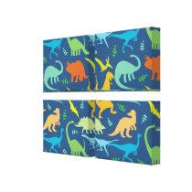 Colorful Dinosaur Pattern Canvas Print