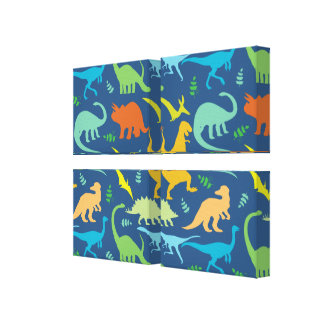 Colorful Dinosaur Pattern Canvas Print