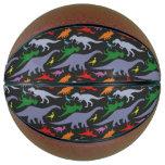 Colorful Dinosaur Pattern (Dark) Basketball