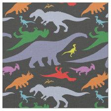 Colorful Dinosaur Pattern (Dark) Fabric