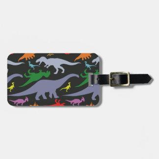 Colorful Dinosaur Pattern (Dark) Luggage Tag
