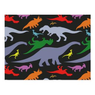 Colorful Dinosaur Pattern (Dark) Postcard