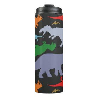 Colorful Dinosaur Pattern (Dark) Thermal Tumbler