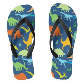 Colorful Dinosaur Pattern Flip Flops