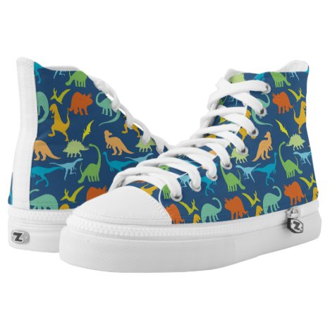 Colorful Dinosaur Pattern High-Top Sneakers